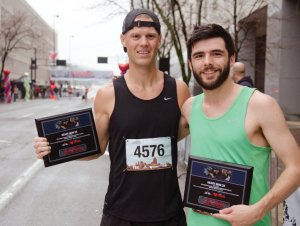Third-place finisher in the 15K David Bea with second-place finisher Zachary Holtkamp