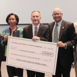 Cincinnati State major gifts director Joseph Sandman, interim president Monica Posey, Foundation board chair Mike Haunert, Cincinnati State trustee chair Mark Walton, and chief of development Elliott Ruther