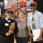 Jesse Escobedo and Alex Nizigiyimana with Sister Margarita Brewer of the Sisters of Charity