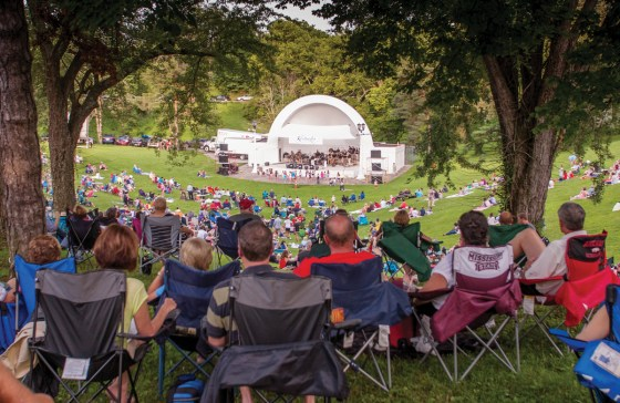 The Kentucky Symphony Orchestra performs in the concert bowl at Devou Park.