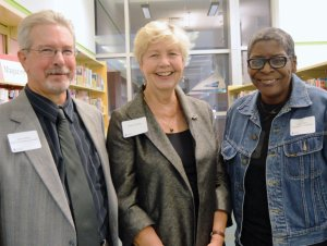 Sponsor Naomi Tucker Gerwin (center) with Jeffrey Hillard and Kathy Y. Wilson, the first two writers-in-residence