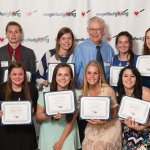 Roger Grein Spirit of Philanthropy Award: (rear) Molly Bonino, Logan Baarlaer, Sarah Riesenberger, Roger Grein, Katie Schweppe and Katie Klear; (front) Connor Herbert, Abigail Enzweiler, Taylor Young, Francie Case, Athenia Brown and Abby Zeigelmeyer