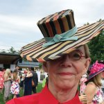 Mary Baskett in a hat by Theresa Kramer, Starling Millinery