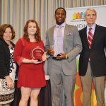 PreventionFIRST! president/CEO Mary Haag, honorees Kiera Peterson and DeMarco Baker, U.S. Sen. Rob Portman, founder of PreventionFIRST!