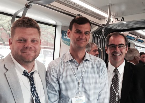 On the streetcar: Jason Shorten, Messer Construction Co.; Mike Prus, Prus Construction; and Mark Luegering, Messer Construction Co.
