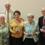 Pro Seniors executive director Rhonda Moore and honorees: Sister Kathryn Ann Connelly, Jim Scott, Lilly Narusevich, Dee Shaffer and Judge Walter H. Rice