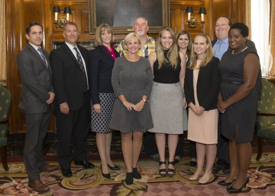 Ohio Innocence Project staff and friends: (back) Brian Howe, staff attorney; Mark Godsey, director; Jennifer Paschen Bergeron, staff attorney; Dean Gillispie, Innocence Project exoneree); Brittany Johns; and Donald Caster, staff attorney; (front) Jennifer Thompson; Liza Dietrich, research and writing specialist; Ruby Wilz; and Rashida Manuel