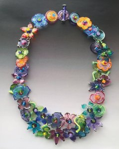 """""""Secret Garden,"""" necklace by Lisa Inglert. Sterling silver and hand-made glass beads."""
