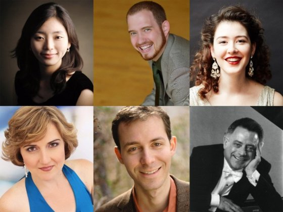 "The artist roster for ""Survey of Les Six: The New Aesthetic"" (L-R starting from the top): Ahyoung Jung (piano), Samuel Martin (piano), Marie Marquis (soprano), Ivy Walz (mezzo-soprano), Alexander Hurd (baritone), Kenneth Griffiths (narrator)"