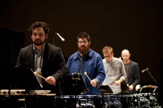 "Sō Percussion, with choreographer/director Emily Johnson, drum home ""A Gun Show"" at the CAC."