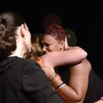 Pam Weber and Pam Green hug award winner Nikki Vandergriff