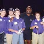 Steve Caminiti with the Elder High School golf team and Ickey Woods