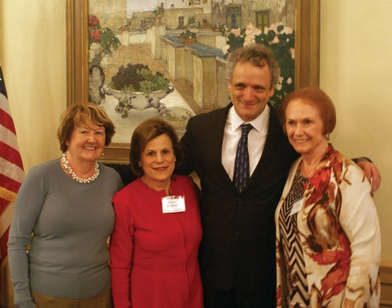 Cincinnati Symphony Club president Suzanne Costandi, 2016 April Affair chair Lynne Mathews and 2017 chair Phyllis Tenenholtz present CSO Music Director Louis Langrée with proceeds from last year's event.