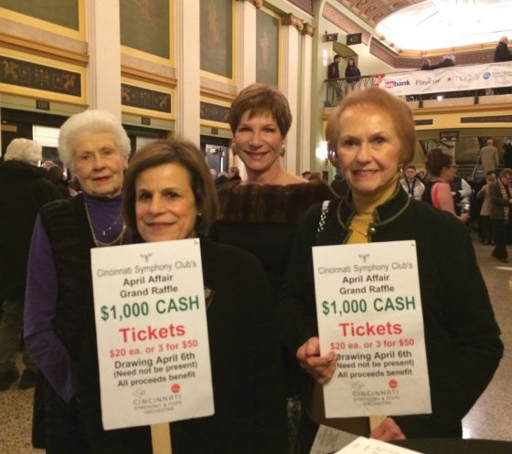 Marj Valvano, Lynne Mathews, Lauren Wallace and Phyllis Tenenholtz sell tickets before a CSO concert.
