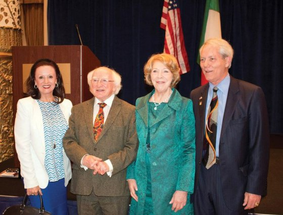 Maureen Kennedy, Ireland's president Michael Higgins and first lady Sabina Higgins, and Kent Covey in 2014 at Chicago's Drake Hotel