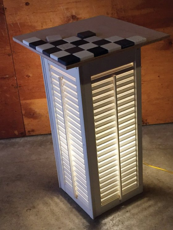 Going for a statement piece: Lighted sidetable with a removable checkerboard top. I'm still kicking around some interesting ideas for the final paint job.