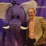 Emcee Bob Goen with Mo the Elephant