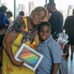 Graduate Bernadette Jones and her son