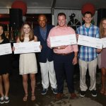 Bengals Coach Marvin Lewis with five scholarship recipients: Orchid Wang, Briana Bolser, Evan Warner, Nathan Gurley and Bailey Jackson