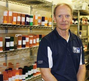 Volunteer Mike Horn, a semi-retired pharmacist