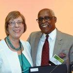 Honoree Carol Stevie with emcee John Lomax Credit: Lisa Desatnik