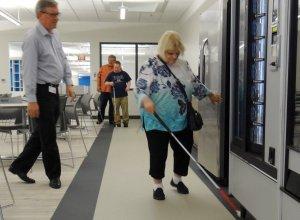 Gerry Slusher checks out the vending machines at The Hornbeck Social Enterprise Center.