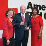 Red Cross regional CEO Trish Smitson, honoree Chris Froman and Red Cross board chair Delores Hargrove Young