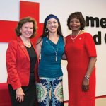 Red Cross Regional CEO Trish Smitson, Colleen Kelly Alexander and Red Cross board chair Delores Hargrove Young