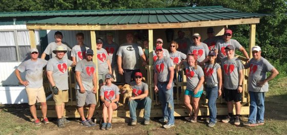 Guardian Angel Parish volunteers on a build project