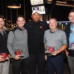 Anthony Muñoz (center) with the Topgolf Tailgate winning team of Matt Terrell, Ryan Kuenkel, Dan Hanson and Justin Doyle from Justin Doyle Homes