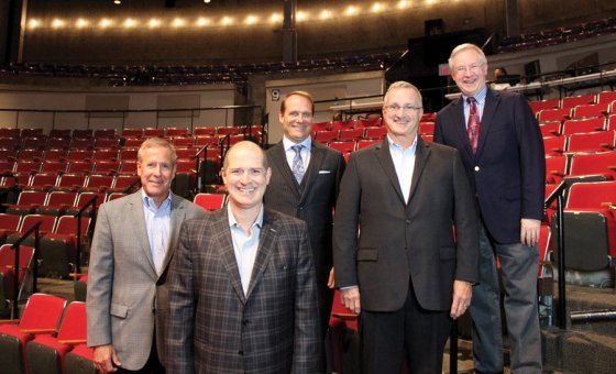 Tom Keckeis, Messer Construction Co. president and CEO; Blake Robison, Playhouse artistic director; Woody Taft, Playhouse capital campaign chair; Mike Habel, BHDP Architecture CEO; and Buzz Ward, Playhouse managing director