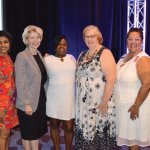Gwen McFarlin, Cathy Crain and Kathryne Gardette with honorees and guest speaker Ericka