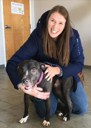 Kayla Roush with Jaynie, whom she adopted from the shelter in early January