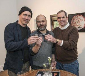 Artist Michael Stillion, Carnegie exhibition director Matt Distel, Chip Finke
