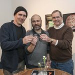 Artist Michael Stillion, Carnegie exhibition director Matt Distel, Chip Finke