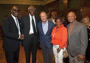 Courtis Fuller, the Rev. Damon Lynch Jr., Bill Baumann, Sharon Ware and Lincoln Ware.