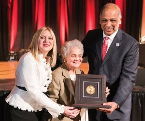 Jennifer Heisey, executive director, UC Alumni Association and vice president for Alumni Relations, UC Foundation, with Marian A. Spencer and UC President Neville Pinto