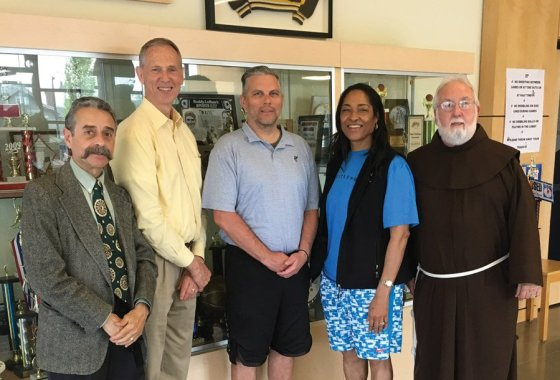 Friars Club members Remo Loreto, Tim Taylor, Ozzia Parrish, Annie Timmons and Brother Scott Obrecht
