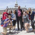 Neville Pinto, Ph.D., president, University of Cincinnati, with students