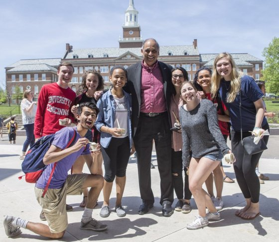 Neville Pinto, Ph.D., president, University of Cincinnati, with students