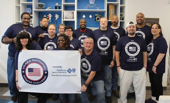 """National Fitness Challenge participants: (Back) Chris Windham, Jeffrey Tolliver, Dave Perry, April McKinney, Mary Ann Donelan, Jerome Harden, Mike Breeden, Pierre McDonald and Joseph Clements; (front) Paula Grubbs, Angela Taylor, Phillip """"Scott"""" Hogan, Anthony Steele and Deb Cook"""