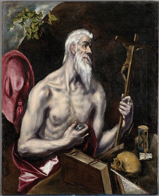 """From """"Treasures of the Spanish World"""" at the Cincinnati Art Museum: El Greco, """"The Penitent Saint Jerome,"""" circa 1600, oil on canvas, courtesy of The Hispanic Society of America, New York"""
