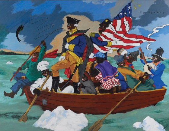 "Robert Colescott, ""George Washington Carver Crossing the Delaware: Page from an American History Textbook"""