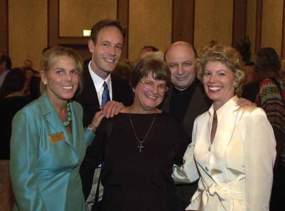 Patty Beggs with Jake Heggie, composer of the opera 'Dead Man Walking'; Sister Helen Prejean, upon whose life the opera was based; Nic Muni, former artistic director of Cincinnati Opera; and Cathy Crain