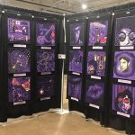A display of Prince quilt tributes from the exhibit