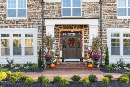 Front door, horizontal view of front door with seasonal decor