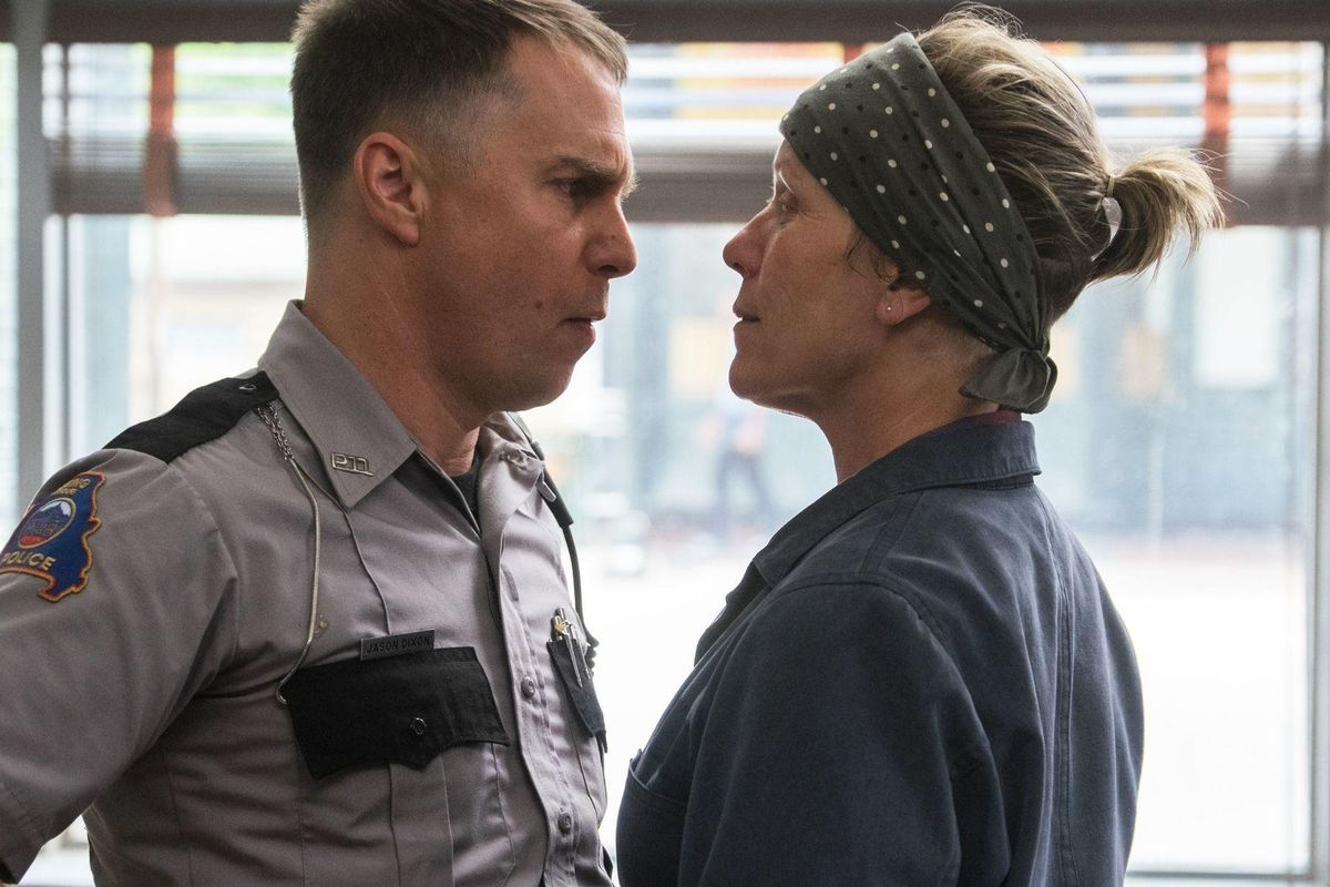 Frances McDormand as Mildred and Sam Rockwell as Officer Dixon in 3 Billboards Outside Ebbing, Missouri