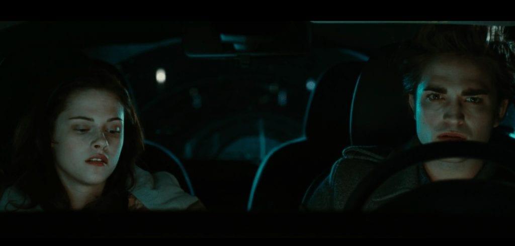 Awkward Bella and Edward in the car scene.