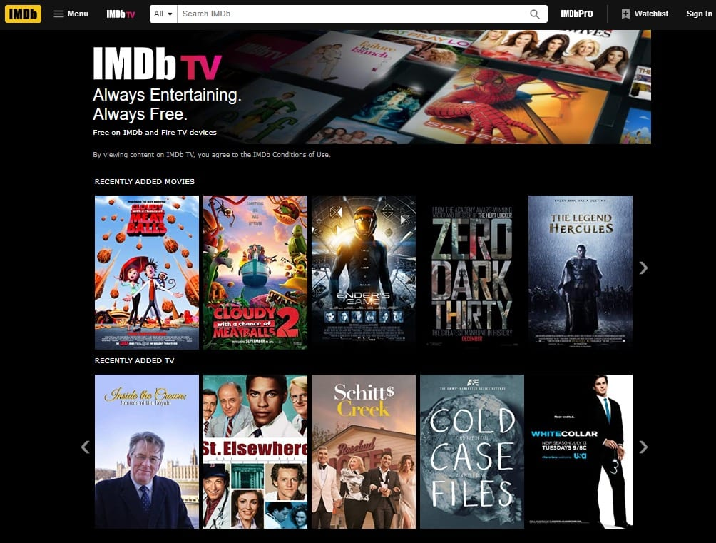 IMDb TV Menu