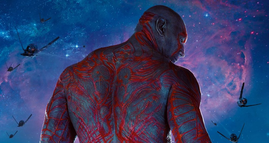Drax is played by Dave Bautista in the Guardians of the Galaxy movies and in the upcoming Avengers: Infinity.